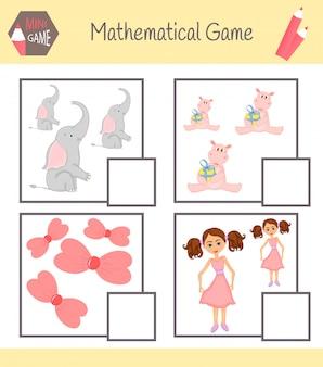 Cuaderno de matemáticas para la educación preescolar. puzzles para niños. aprende a contar. resolver ejemplos