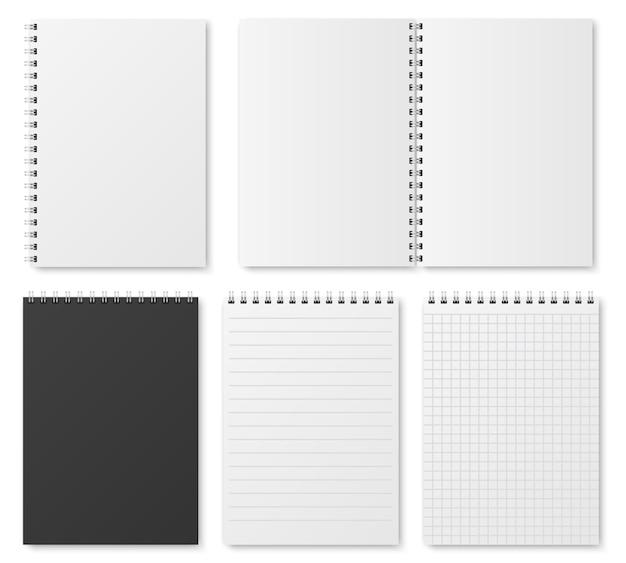 Cuaderno, organizador y plantilla realistas en blanco, abiertos y cerrados.