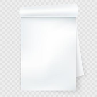 Cuaderno con página enrollada aislada.