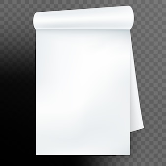 Cuaderno con página enrollada sobre fondo transparente. y también incluye