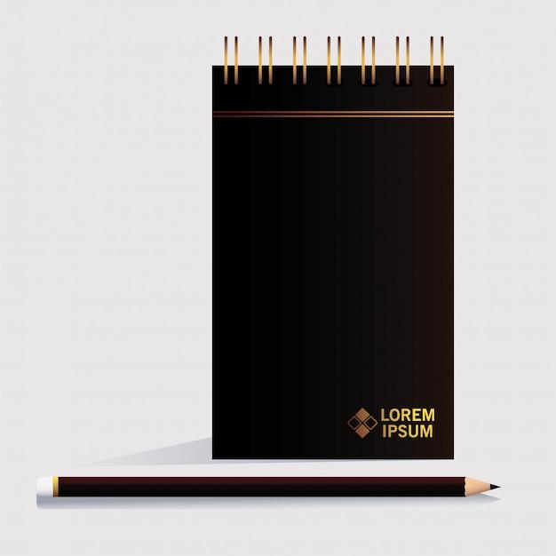 Cuaderno, plantilla de identidad corporativa en blanco