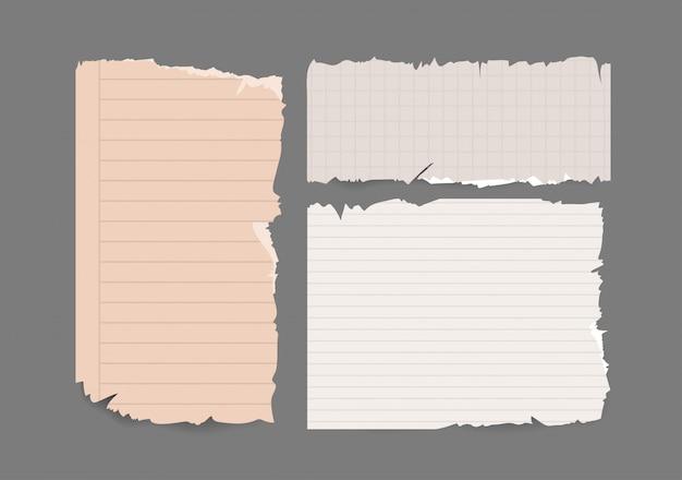 Cuaderno rasgado papel rasgado conjunto.