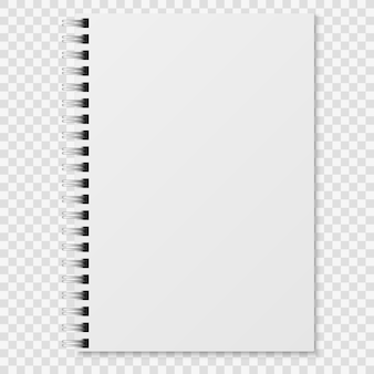 Cuaderno realista. cuaderno blanco en blanco carpeta espiral cerrado. organizador de papel o maqueta de diario