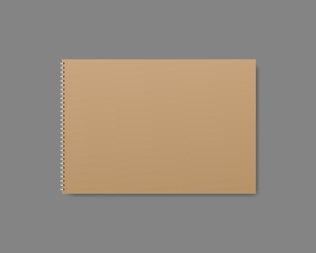 Cuaderno realista, diario o libro. plantilla de portada de cuaderno o diario en blanco. maqueta realista