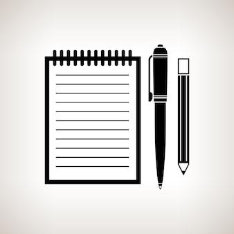 Cuaderno de silueta con la pluma y un lápiz sobre un fondo claro, ilustración vectorial en blanco y negro