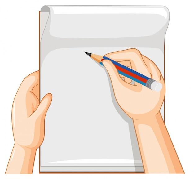 Cuaderno vacío y mano con lápiz sobre fondo blanco.