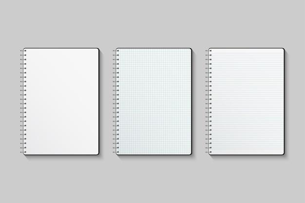 Cuadernos de papel cuadriculado y rayado en blanco aislado sobre fondo gris