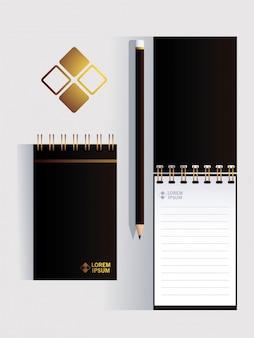 Cuadernos, plantilla de identidad corporativa en blanco