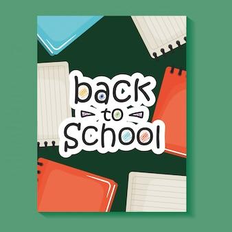 Cuadernos útiles escolares con libros de texto.
