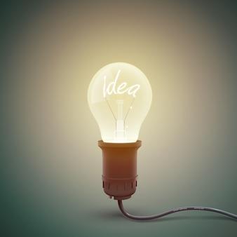 Cuadrado creativo con imagen conceptual de lámpara incandescente atornillada en bombilla con idea de palabra luminosa dentro de la ilustración
