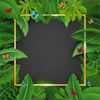 Cuadrado dorado con espacio de texto rodeado de hojas tropicales.
