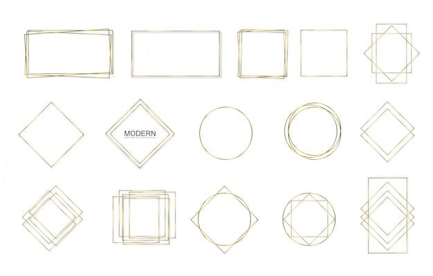 Cuadrado dorado, redondo, marco ovalado con efectos de luces.