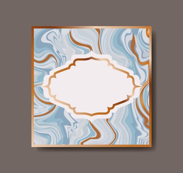 Cuadrado dorado con textura victoriana de mármol.