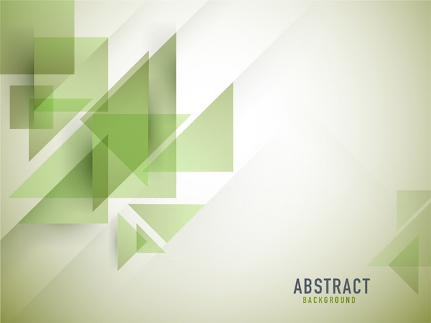 Cuadrado geométrico abstracto verde y fondo de triángulo.