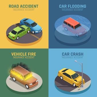 Cuadrado de los iconos isométricos del concepto 4 del seguro de auto para el daño del accidente de carretera y el daño del fuego del coche aislados