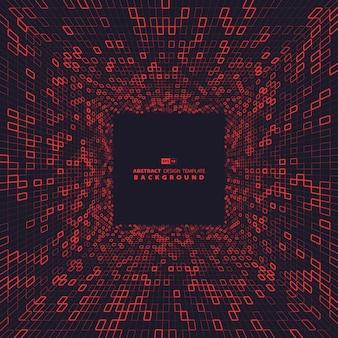 Cuadrado rojo abstracto del diseño del fondo de la dimensión de la tecnología.