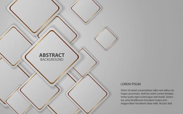 Los cuadrados blancos abstractos forman el fondo con línea dorada