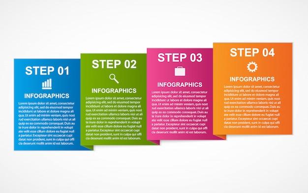Cuadrados coloridos infografías para sus presentaciones de negocios.