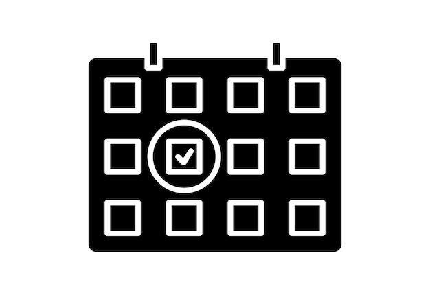 Cuadrícula de calendario con un día seleccionado icono de glifo de calendario concepto de símbolo de plan de día de fecha de programación
