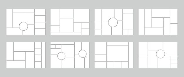 Cuadrícula de collage de fotos. plantilla de tablero de estado de ánimo. conjunto de moodboard en blanco.
