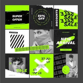 Cuadrícula de instagram de ventas creativas