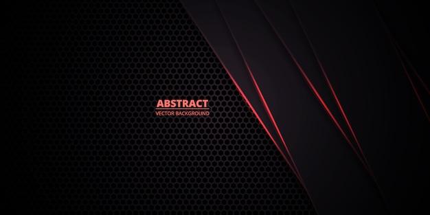 Cuadrícula de textura de panal rojo oscuro con líneas luminosas rojas.