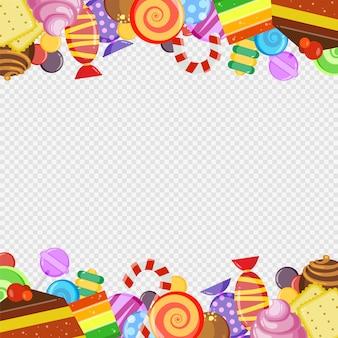 Cuadro abstracto con dulces. coloridos dulces de caramelo y chocolate galletas y pasteles piruleta plantilla de borde de dibujos animados de vector dulce y jugoso