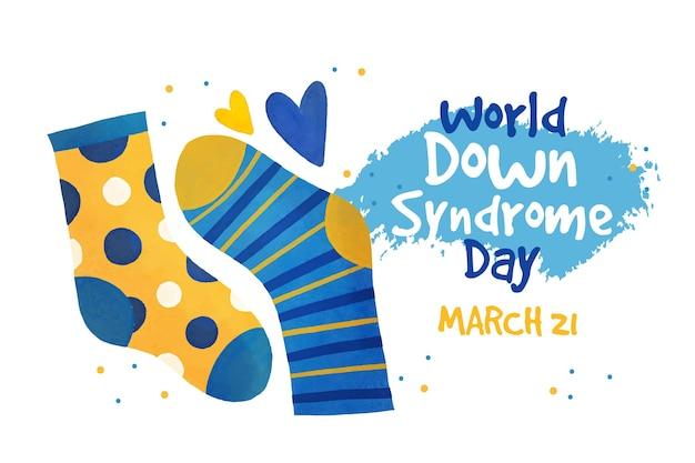 Cuadro en acuarela del día mundial del síndrome de down
