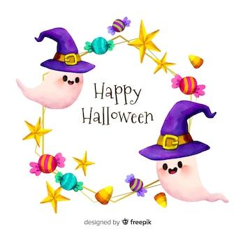 Cuadro acuarela feliz halloween con fantasmas