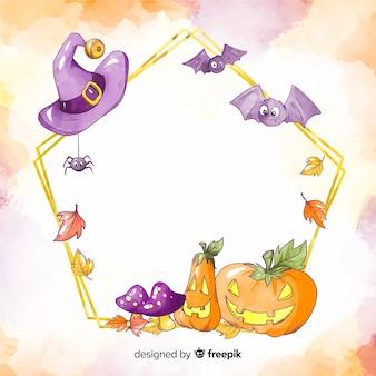 Cuadro acuarela de halloween con calabaza y murciélagos
