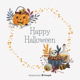 Cuadro acuarela de halloween con calabaza