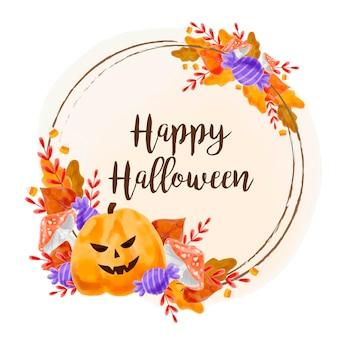 Cuadro acuarela de halloween con hojas y calabaza