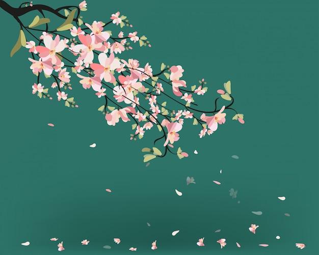 Cuadro acuarela de sakura. fondo con ramas de cerezo en flor.