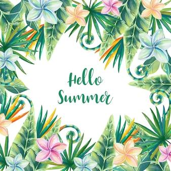 Cuadro acuarela de verano con decoración floral.