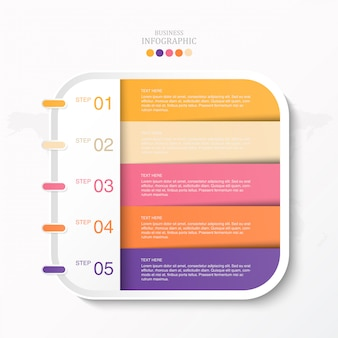 Cuadro colorido para texto infografía e iconos