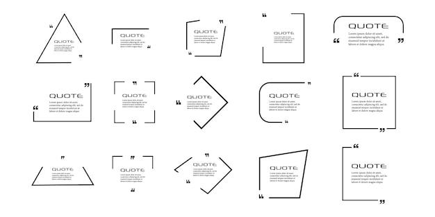 Cuadro de cotización, conjunto grande. icono de cuadro de cotización. mensajes de texto con cuadros de cotización. antecedentes. ilustración