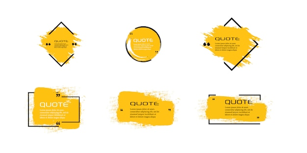 Cuadro de cotización, conjunto grande. icono de cuadro de cotización. mensajes de texto con cuadros de cotización. fondo de pincel grunge en blanco.