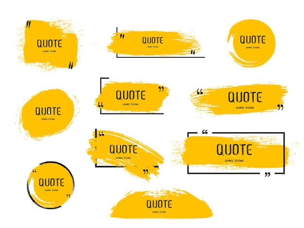 Cuadro de cotización marco conjunto grande icono de cuadro de cotización mensajes de texto cuadros de cotización en blanco grunge cepillo fondo vector