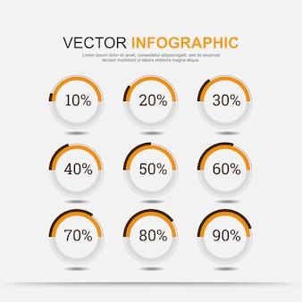 Cuadro de elementos infográficos circulares con indicación de porcentajes.
