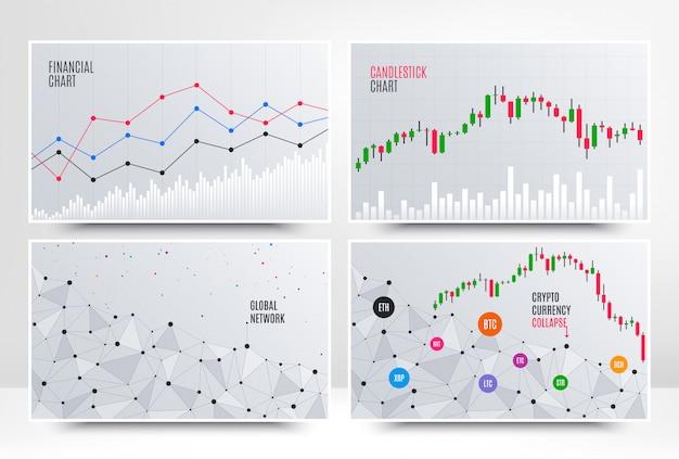 Cuadro financiero con gráfico lineal