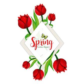 Cuadro floral primavera acuarela