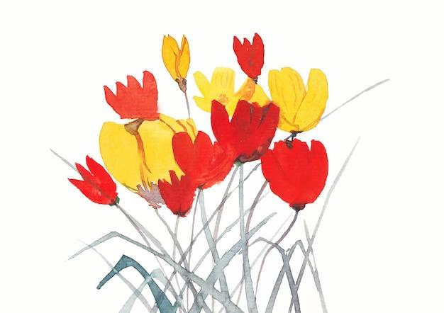 Cuadro de fondo de naturaleza floral con acuarela