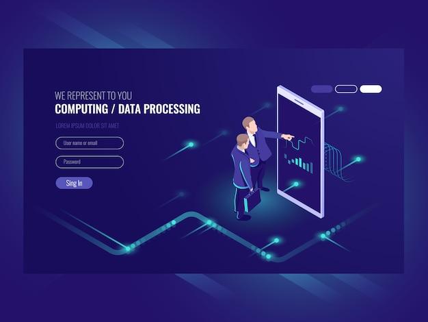 Cuadro gráfico de aspecto de hombre, concepto de análisis de negocios, icono de procesamiento de datos grandes