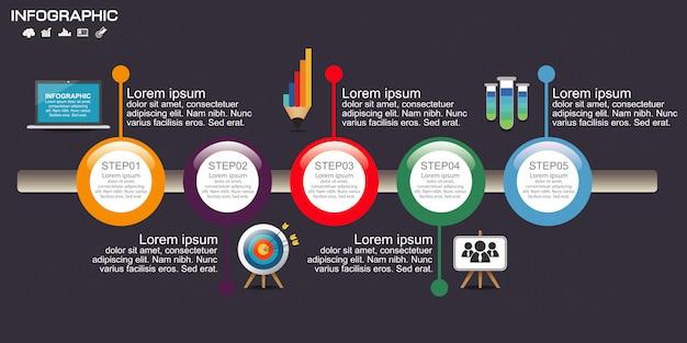 Cuadro de infografía timeline con muchos colores