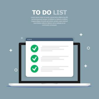 El cuadro de lista de tareas se representa en la computadora en la plantilla azul