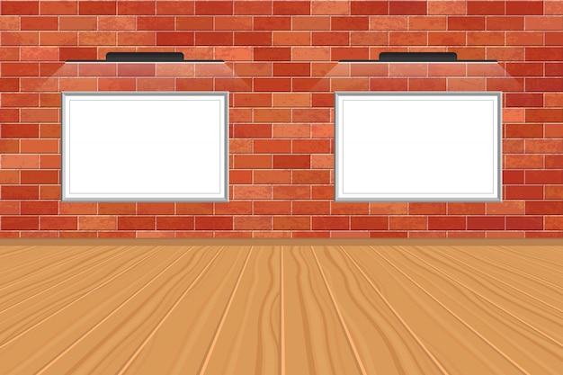 Cuadro con luz led en pared de ladrillos. exposición