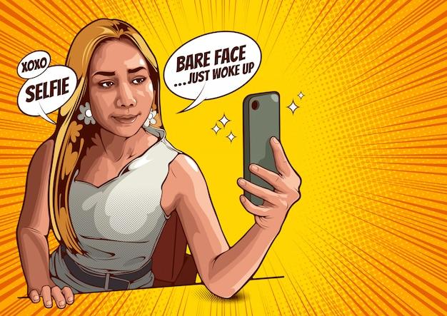 Cuadro de las mujeres jovenes que toman el selfie con el teléfono móvil, ilustración.