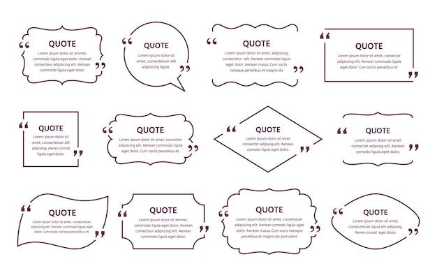 Cuadro de texto de cotización. marco de citas. plantillas decorativas vintage. globos de texto. comentarios y mensajes en cuadros de texto