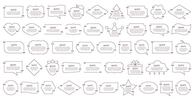 Cuadro de texto de cotización. marco de cotización de plantilla en diseño simple.