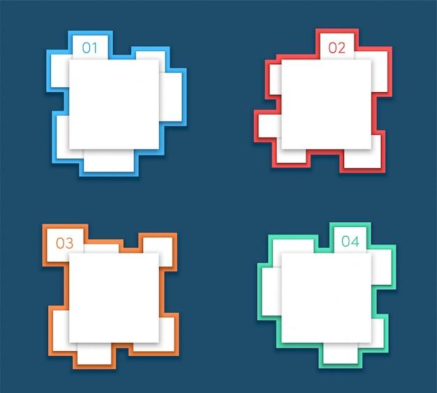 Cuadro de texto elementos número uno a cuatro diseño vectorial
